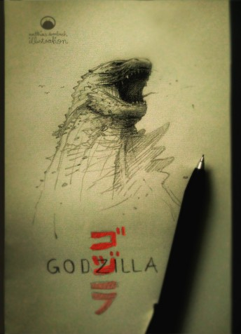 Matthias Derenbach #Illustration - Godzilla/sketch
