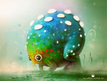 Matthias Derenbach #Illustration - small poisonous underwater elephant fart frog
