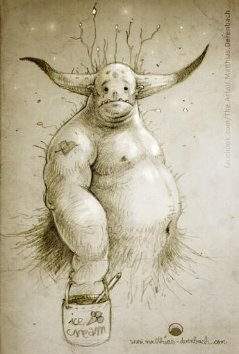 Matthias Derenbach #Illustration - lovesickmonster/is always lovesick. so it has to eat tons of icecream/sketch